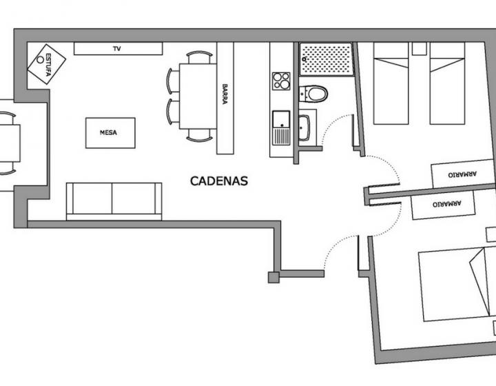 Plano Apartamento rural Cadenas Cinco Villas