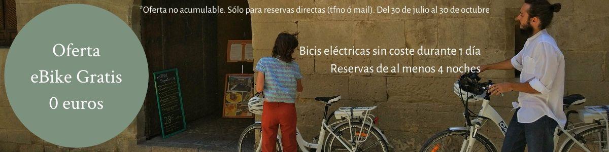 Oferta bici eléctrica gratis en Posada de Uncastillo. Hotel rural Rusticae en el Prepirineo de Aragón.